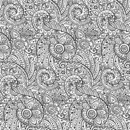 seamless paper: Seamless vector pattern with traditional oriental floral ornament with a lot of details Illustration