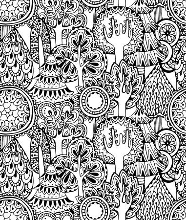 手描きのシームレスなパターンをベクトル落書きの木です。モノクロ イラスト  イラスト・ベクター素材