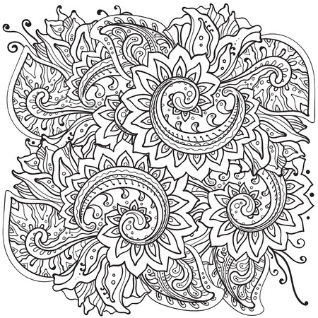 cute doodle: Traditional vector oriental floral ornament with a lot of details in doodle style