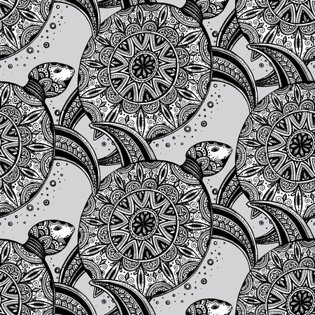 Vector seamless monochrome pattern. Hand drawn black doodle turtles on white background.