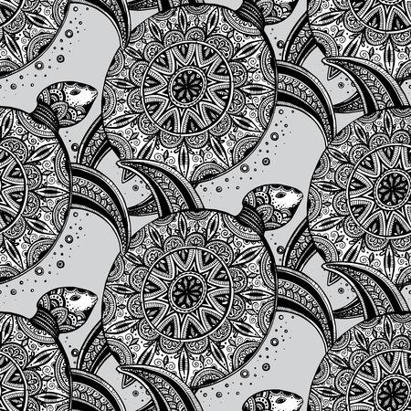 Vector monochrome seamless. Tiré par la main tortues de griffonnage noir sur fond blanc.