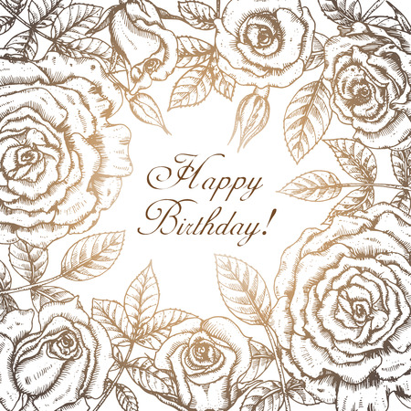 Vintage elegant greeting card with graphic flowers (roses). Vector frame in vintage style Illustration