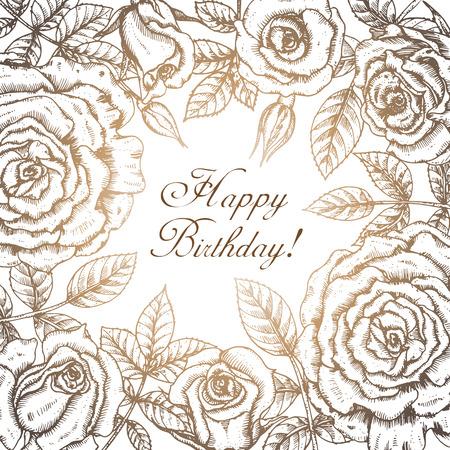 rose: Vintage elegant greeting card with graphic flowers (roses). Vector frame in vintage style Illustration