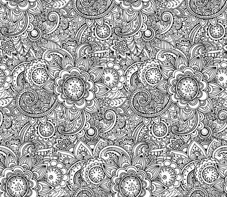 シームレスなモノクロ ベクター花柄です。手描画落書きテクスチャ、装飾花  イラスト・ベクター素材