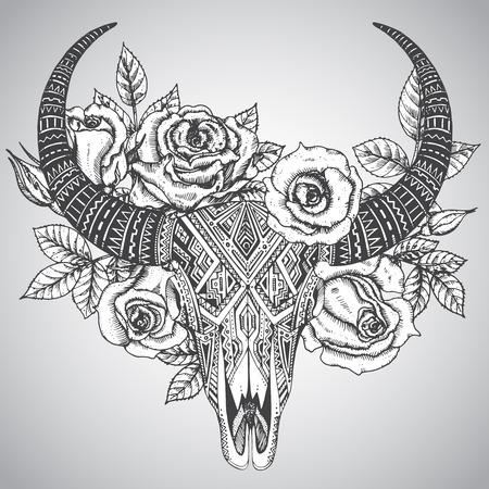 tete de mort: Décoratif indien crâne de taureau dans tatouage style tribal avec des fleurs roses et de feuilles. Tiré par la main illustration vectorielle Illustration