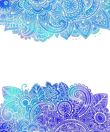 bordes decorativos: Modelo del vector con flores de bosquejo y azul textura de la acuarela. Vectores