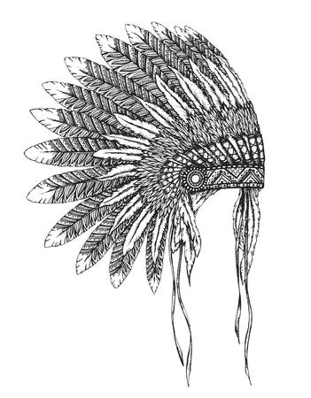スケッチ スタイルの羽付きネイティブ アメリカン インドのヘッドドレス。手には、ベクター グラフィックが描画されます。