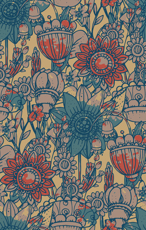 Vector seamless pattern with fantasy flowers. Watercolor texture. Vintage style Illustration