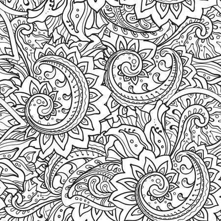 落書き dtyle の詳細の多くと伝統的なベクトル東洋の花飾りとシームレスなパターン  イラスト・ベクター素材