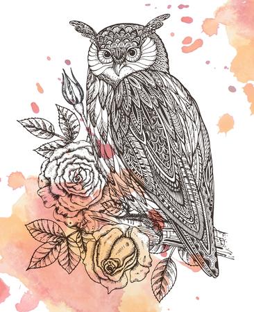 野生のトーテム動物 - バラの観賞用グラフィック スタイルでフクロウのベクトル イラストを残します。水彩画背景  イラスト・ベクター素材