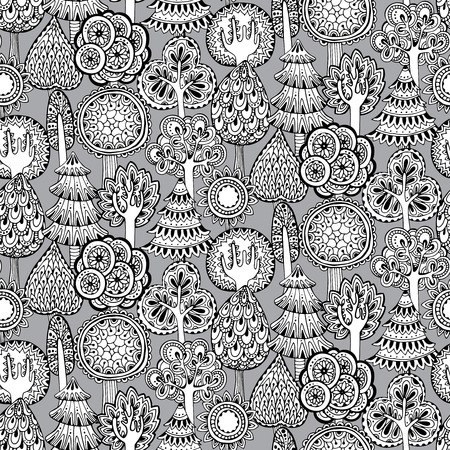 Vector seamless pattern with hand drawn doodle trees. Monochrome illustration Illustration