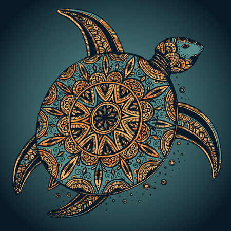 Hand drawn vector colorful doodle turtle with oriental ornament. Zentangle tribal stylized animal.  イラスト・ベクター素材