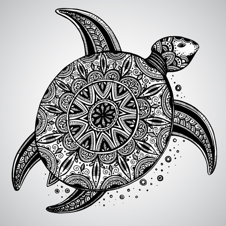Hand drawn vector monochrome doodle turtle decorated with oriental ornament. Zentangle tribal stylized animal. Vettoriali