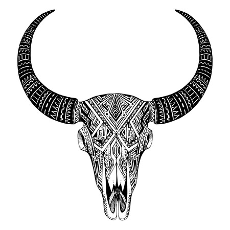 calavera: Decorativo cráneo del toro indio en estilo tribal del tatuaje. Dibujado a mano ilustración vectorial