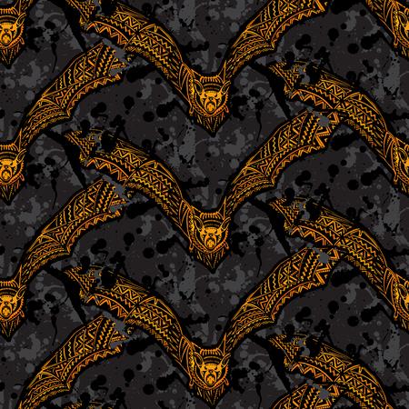 vampire bats: Halloween seamless pattern with ornate vampire bats on grunge background