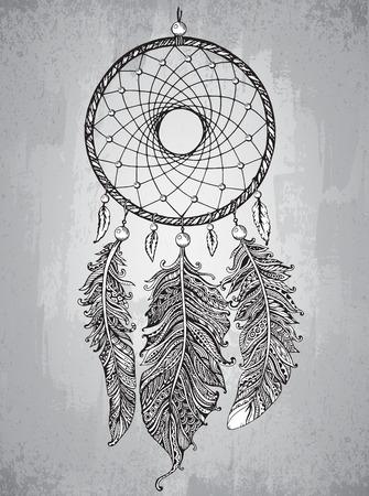 手は、zentangle スタイルに装飾的な羽を持つドリーム キャッチャーを描画されます。入れ墨または t シャツのスケッチ ベクトル図を印刷します。