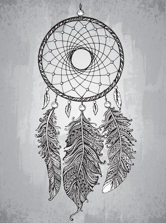for a dream: Hand drawn dream catcher with ornamental feathers in zentangle style. Sketch vector illustration for tattoos or t-shirt print. Illustration