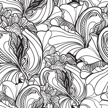 派手な花を持つベクターのシームレス花柄落書き背景パターン。黒と白の背景。塗り絵。モノクロ。