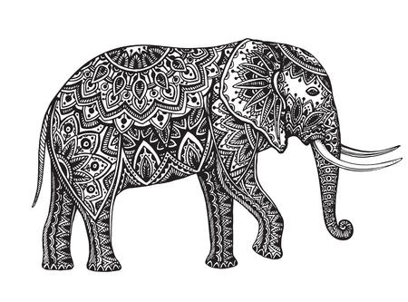 siluetas de elefantes: Fantasía estilizada modelada elefante. Mano ilustración vectorial dibujado con elementos florales orientales tradicionales.