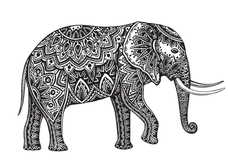 fantasy: Stylized fantasy patterned elephant. Hand drawn vector illustration with traditional oriental floral elements.