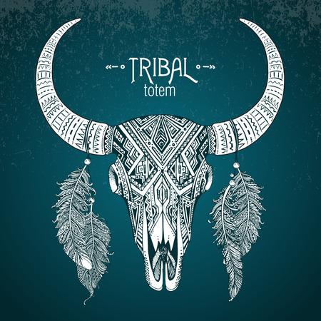 calaveras: Dibujado a mano ilustración vectorial de cráneo del toro con plumas. Ornamento étnico indio