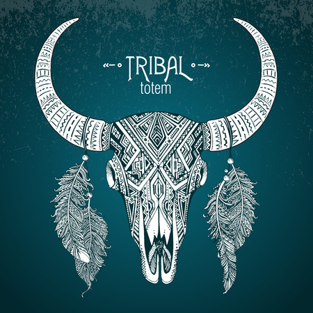 totem: Hand drawn Vector illustration of bull skull with feathers. Ethnic indian ornament