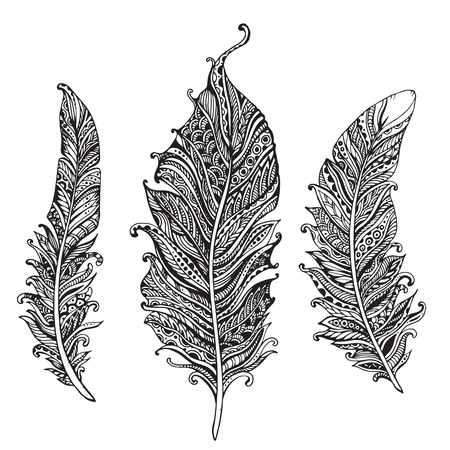 pen and ink: Hand drawn stylized feathers black and white vector collection. Set of doodle tribal ornamental feathers.