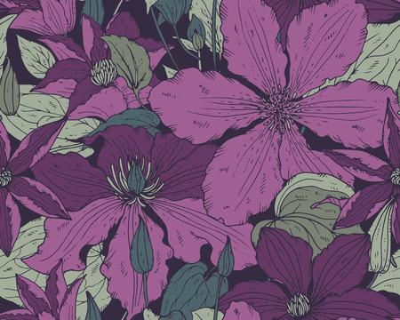 シームレスに花柄生地、テキスタイル、壁紙、紙に手描きのクレマチスの花と。美しいベクトルの背景。