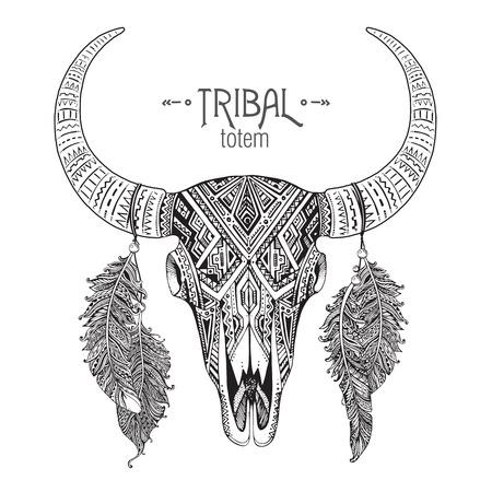 rodeo americano: Dibujado a mano ilustración vectorial de cráneo del toro con plumas. Ornamento étnico indio