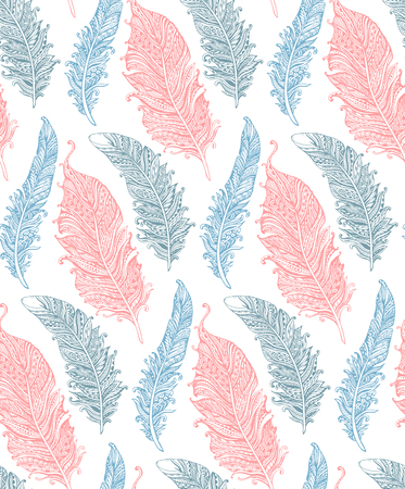 soft colors: Beautiful seamless pattern with hand drawn stylized feathers in soft colors. Vector endless background