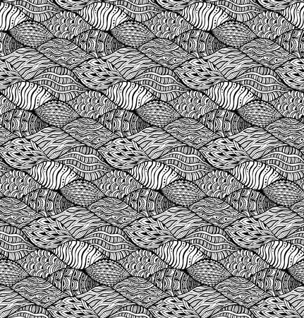 ベクトルの抽象的な要素を持つシームレス パターン。手描き黒と白の背景