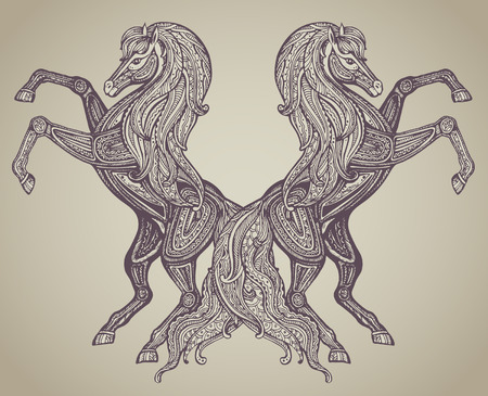 two stroke: Vector hand drawn couple of horses in graphic ornamental style. Illustration