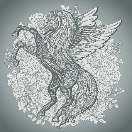 手は、ブッシュのバラ背景にペガサス神話翼ある馬を描いた。ビクトリア朝の motift。ライン アート スタイルのベクトル図を分離しました。  イラスト・ベクター素材