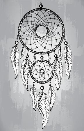 ラインアートのスタイルでは、羽とドリーム キャッチャー。手描きスケッチ ベクトル イラスト入れ墨または t シャツ印刷用。