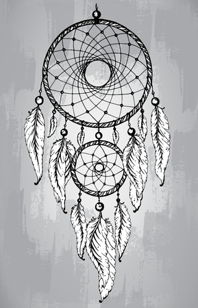 shaman: Dream catcher with feathers, in line art style. Hand drawn sketch vector illustration for tattoos or t-shirt print.