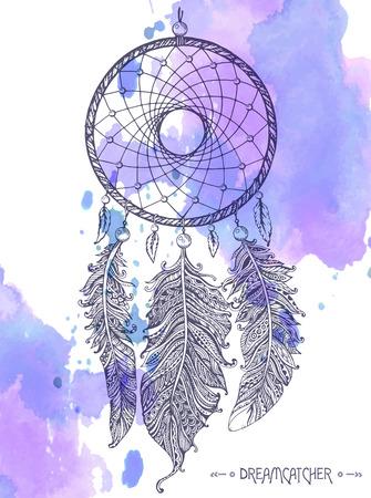 手は、水彩画の背景に装飾的な羽を持つドリーム キャッチャーを描いた。入れ墨または t シャツのスケッチ ベクトル図を印刷します。  イラスト・ベクター素材