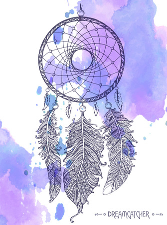 Hand drawn dream catcher with ornamental feathers on watercolor background. Sketch vector illustration for tattoos or t-shirt print.