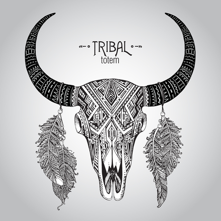 cow head: Hand drawn Vector illustration of bull skull with feathers. Ethnic indian ornament