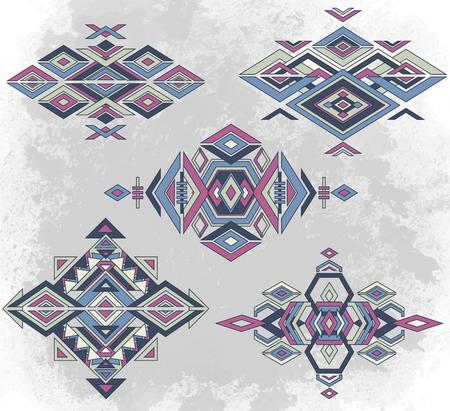 Tribal element patterns on grunge background. Traditional folk ornament.