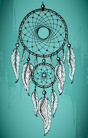 dream: Hand drawn dream catcher with ornamental feathers on grunge green background. Sketch vector illustration for tattoos or t-shirt print. Illustration