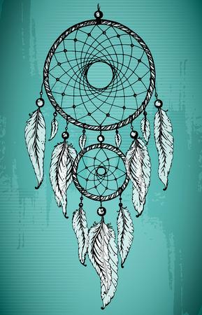 atrapasueños: Mano atrapasueños dibujado con plumas ornamentales en grunge fondo verde. Ilustración vectorial Boceto para tatuajes o camiseta de impresión.