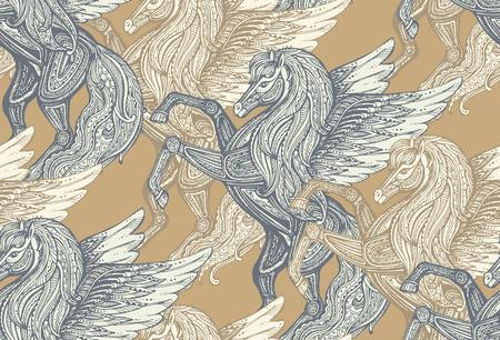 手でシームレスなベクトル パターンには、ペガサス神話翼ある馬が描かれています。