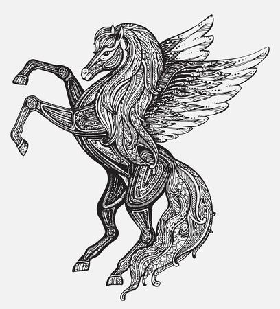 Hand drawn Pegasus mythological winged horse. Victorian motif, tattoo design element. Isolated vector illustration in line art style. Illustration