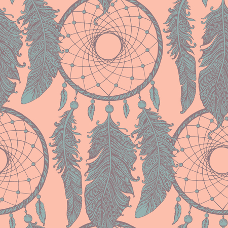 american dream: Seamless pattern with hand drawn dream catchers  in light colors.