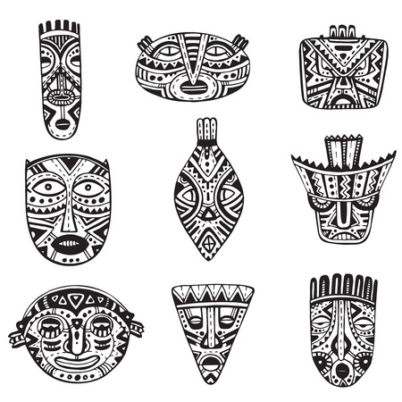 Vector set of hand drawn fancy masks in african style. Black and white tribal ethnic collection Illustration
