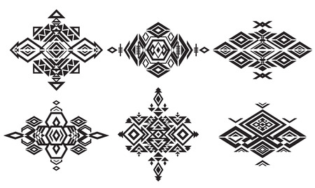 decorative design: Tribal black element patterns on white background. Traditional folk ornament. Illustration