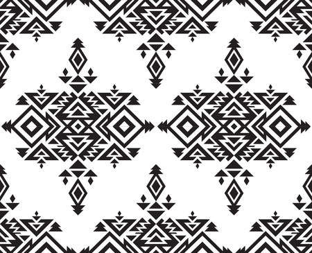 ornamental: Tribal vector black and white seamless pattern with geometric forms