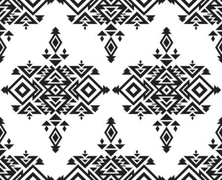 tribales: Tribal vector blanco y negro sin patrón, con formas geométricas Vectores