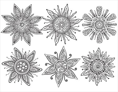 suns: Set of vector beautiful ornate suns in graphic style