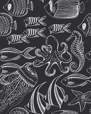 sea fishing: Vector monochrome seamless sea pattern with tropical fishes, stars, jellyfishes, algae, corals. Underwater world. Black and white hand drawn illustration